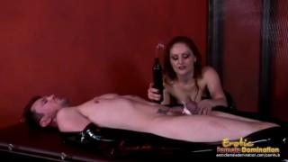 Goddess in latex dominating immobilized femdom slave