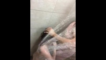 Husband washes his dirty little slut and then cums all over her
