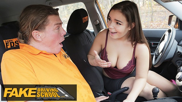 Strongest sex drive guaranteed - Fake driving school curvy brunette sofia lee sucks coffee flavoured cock
