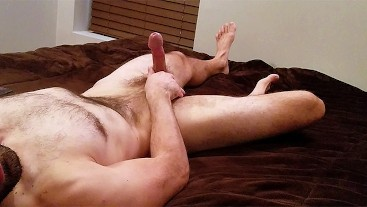 Moaning Hairy Str8 Guy's Quick Intense Jerkoff