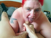 Deep throat makes me gag and cry cum in throat