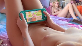 Perfect Naked Gamer Girl Playing New Horizons