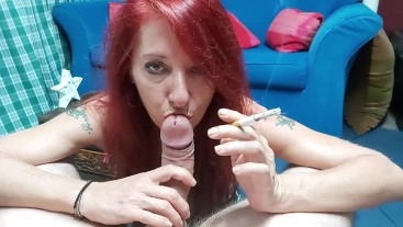 Homemade Trash MILF smoking cock POV