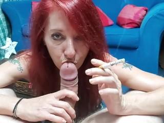 Homemade Trash MILF smoking cock POV
