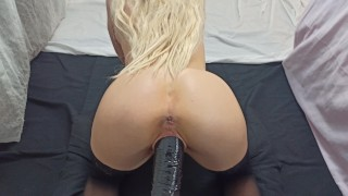 My pussy is hungry so I fed it with a huge cock- POV - 4K