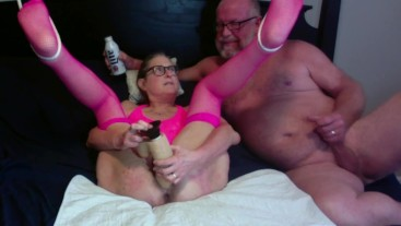 Mature Wife Gets Fucked Big Squirt 12 inch Dildo Husband Cums On Pussy MIlf
