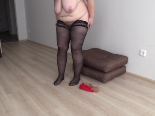 Mature BBW with a big ass changes clothes nylon stockings. Foot fetish