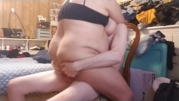 Bbw wife sucks and rides me hard in a chair then I bend her over and cum on