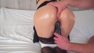Schoolgirl in bondage is slapped and tortured with magic wand vibrator