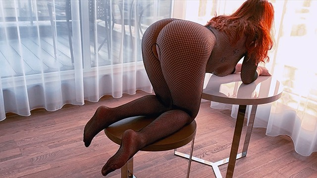 Teens orgy in fishnet bodystockings Hot redhead fishnet bodysuit doggy premature creampie in hairy ginger pussy