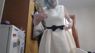 I dance and try on different dresses from my wardrobe