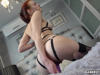 Solo, ginger model, Eva is gently masturbating, in 4K