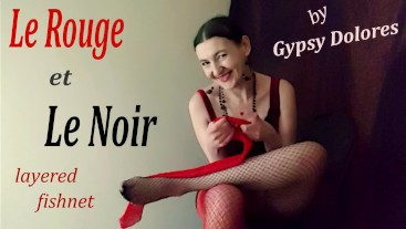 Le Rouge et le noir/ layered fishnet feet fetish by Gypsy Dolores