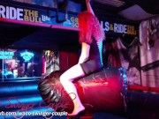 Slut wife riding mechanical bull in short dress with no panties upskirt