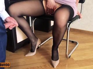 Business lady mutual masturbation cumshot on nylon legs