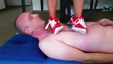 Trampling with Red Sneaker
