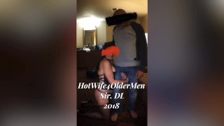 Submissive HotWife used by older bull in front of cuckold husband