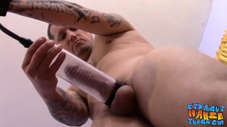 Inked straight thug Lil Wyte cums after fucking a fleshlight