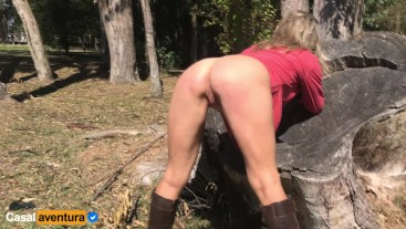 We come back! Real Amateur Public Sex on the Park!!! People walking near...