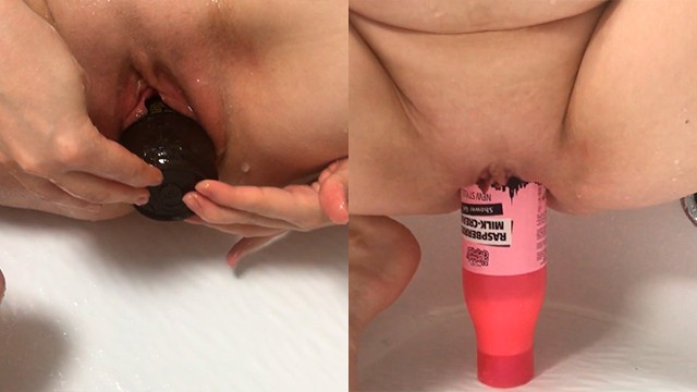 Women using objects as sex toys - Big shampoo bottles insertion fisting my pussy
