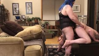 My Fuck slut hubby taking a hard pegging like a good slut
