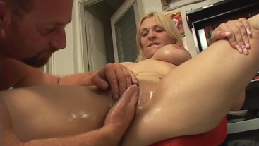 Blonde with big tits and hairy pussy gets fisted and fucked by MILF Hunter
