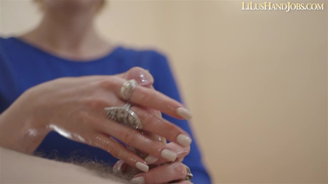 Long nail masturbation - Sexy natural long white nails handjob - huge cumshot _ lilushandjobs