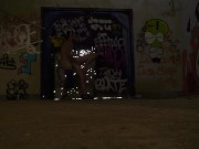 Hot bro skater sex in abandoned building caught fucking outdoors