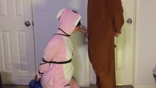 Bondage pics hands tied Bunny onesie pajamas blowjob tied up