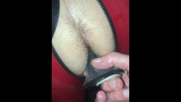 Lad in Red Rubber used hard at the Playroom - Fucked and Flooded