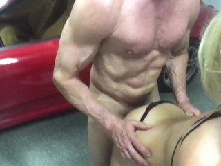 POV Nadia North and Peter North fucking by the Ferrari