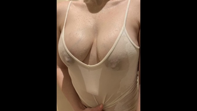 Pee pics Wetting her t-shirt and big tits with pee - pics after