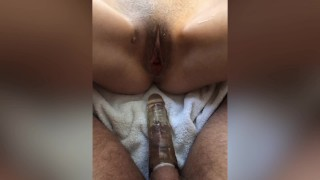 Hot Wife makes Cuckold Husband wear sleeve to fuck her during pandemic