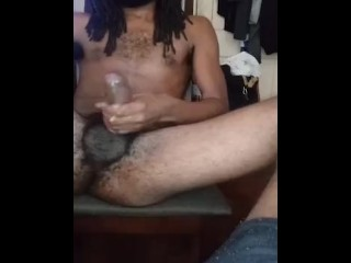Jacking with condom on