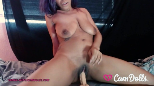 CamDolls - Sanaa West - Ebony Camgirl w Big Natural Tits Rides a Big Dildo