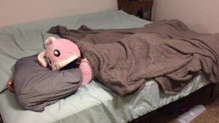 Bunny onesie tied up and fucked in bed