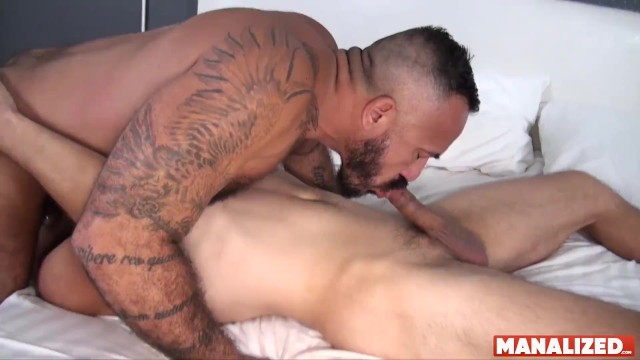 Gay pornstar stone Manalized josh stone cums hard while latino daddy fucks him