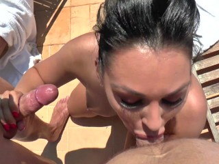 porn star rosalina love gets busted threesome...