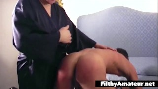 The mistress wife buggers her husband with a strapon