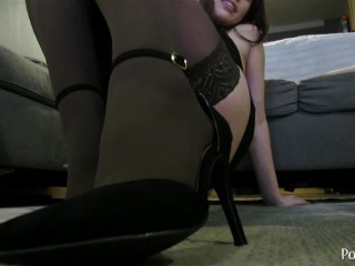 Foot focused stretching nylons and heels...