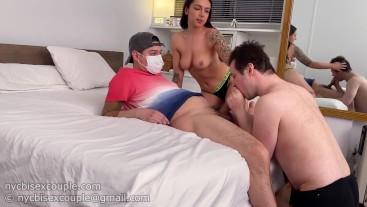 making her boyfriend suck a strange man's penis for her pleasure