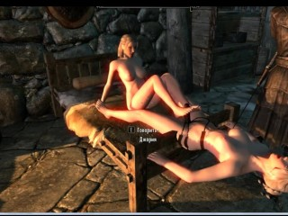 Skyrim lesbians. Very hot and beautiful sex warriors | Porno Game 3d