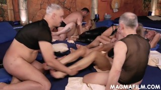 Three swinger couples have a sex party