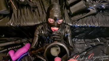 Slave Slut-Orgasma Celeste piss drinking and throating a dildo