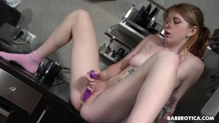 Solo strawberry blonde, Rina Ray is masturbating, in 4K