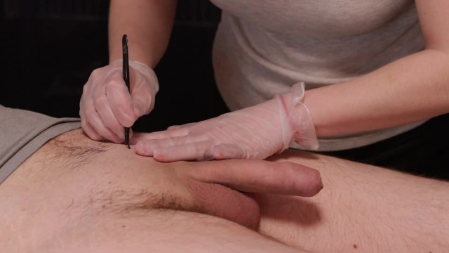 Waxing me dick Waxing depilation in gloves and masturbation cum shot