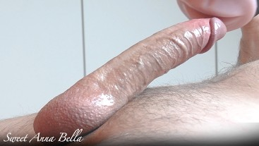Close up big oiled cock and cockring jerk off with fleshlight ruined orgasm