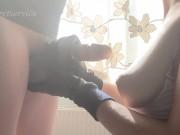 Sunny leather gloves handjob 4k 60fps