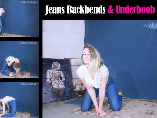 Jeans Backbends and Underboob Tease contortion flexibility flexible denim