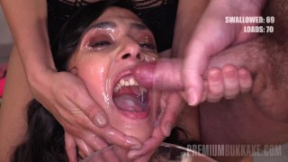 Premium Bukkake – Ashley Ocean swallows 32 huge mouthful cum loads